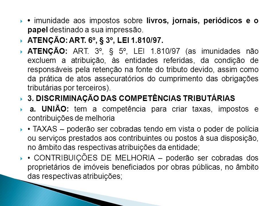 imunidade aos impostos sobre livros, jornais, periódicos e o papel destinado a sua impressão. ATENÇÃO: ART. 6º, § 3º, LEI 1.810/97. ATENÇÃO: ART. 3º,