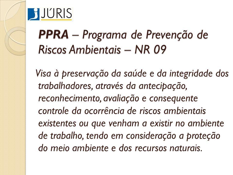 PPRA – Programa de Prevenção de Riscos Ambientais – NR 09 Visa à preservação da saúde e da integridade dos trabalhadores, através da antecipação, reco
