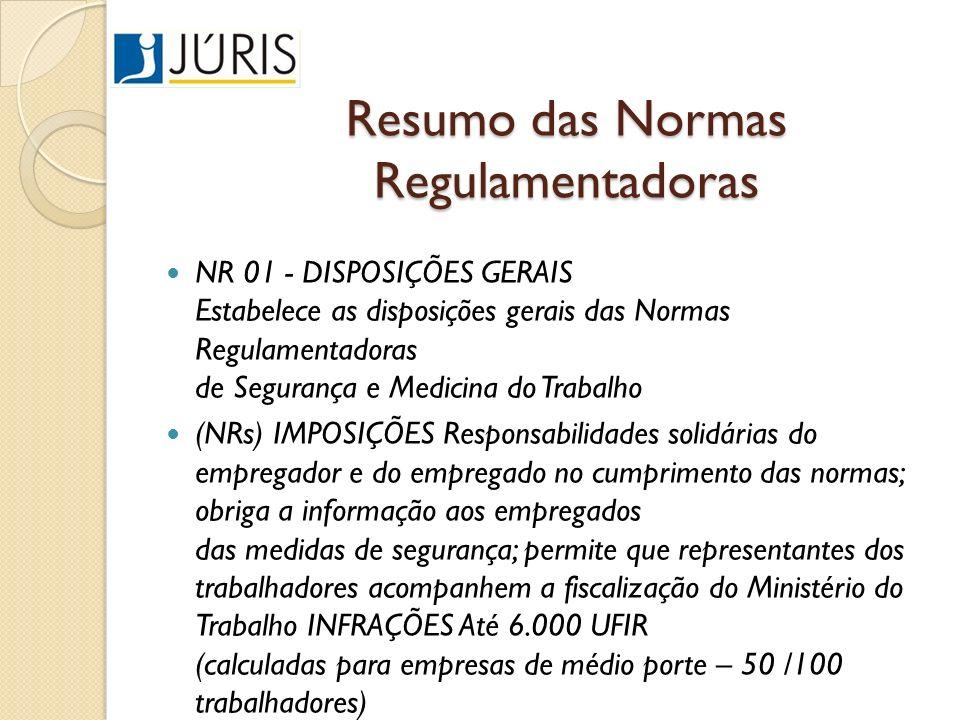 Resumo das Normas Regulamentadoras NR 01 - DISPOSIÇÕES GERAIS Estabelece as disposições gerais das Normas Regulamentadoras de Segurança e Medicina do