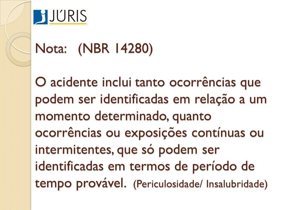 Nota: (NBR 14280) O acidente inclui tanto ocorrências que podem ser identificadas em relação a um momento determinado, quanto ocorrências ou exposiçõe