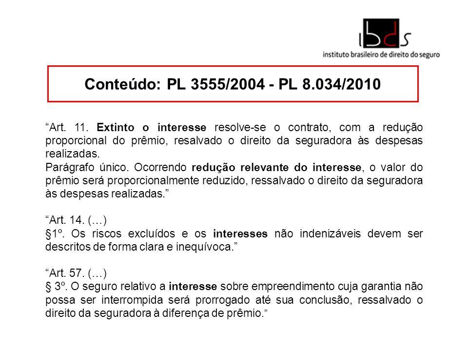 Conteúdo: PL 3555/2004 - PL 8.034/2010 Art. 11. Extinto o interesse resolve-se o contrato, com a redução proporcional do prêmio, resalvado o direito d