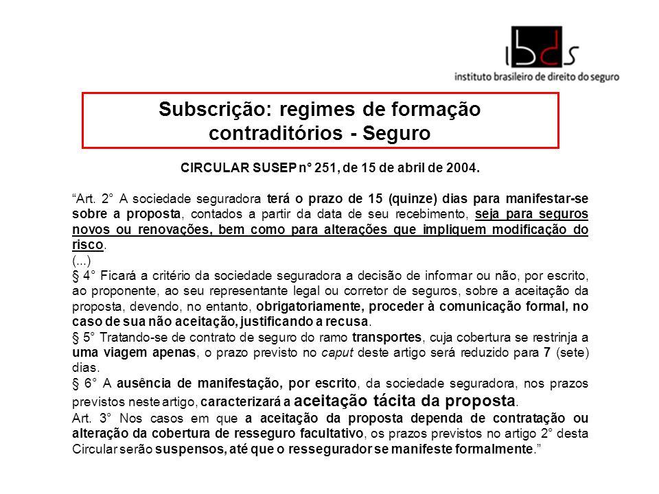 Subscrição: regimes de formação contraditórios - Resseguro A Resolução CNSP n° 241, de 2011, ao tratar da DA CONSULTA AOS RESSEGURADORES LOCAIS, ADMITIDOS E EVENTUAIS, no seu art.