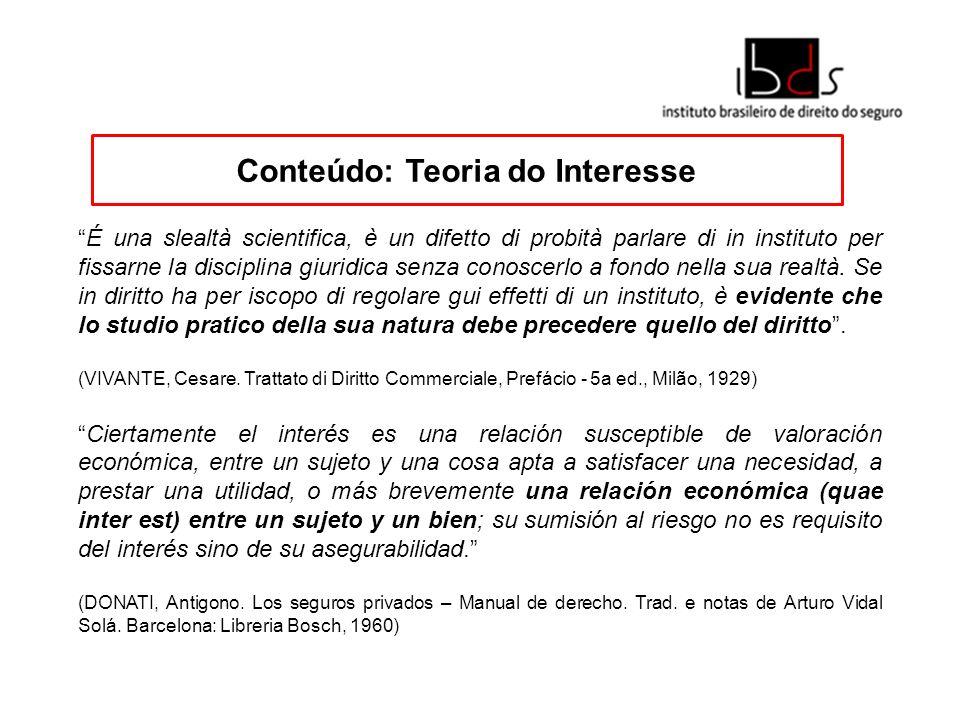 Conteúdo: Teoria do Interesse É una slealtà scientifica, è un difetto di probità parlare di in instituto per fissarne la disciplina giuridica senza co
