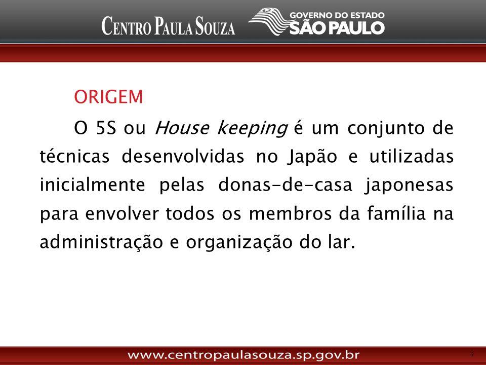 ORIGEM O 5S ou House keeping é um conjunto de técnicas desenvolvidas no Japão e utilizadas inicialmente pelas donas-de-casa japonesas para envolver todos os membros da família na administração e organização do lar.