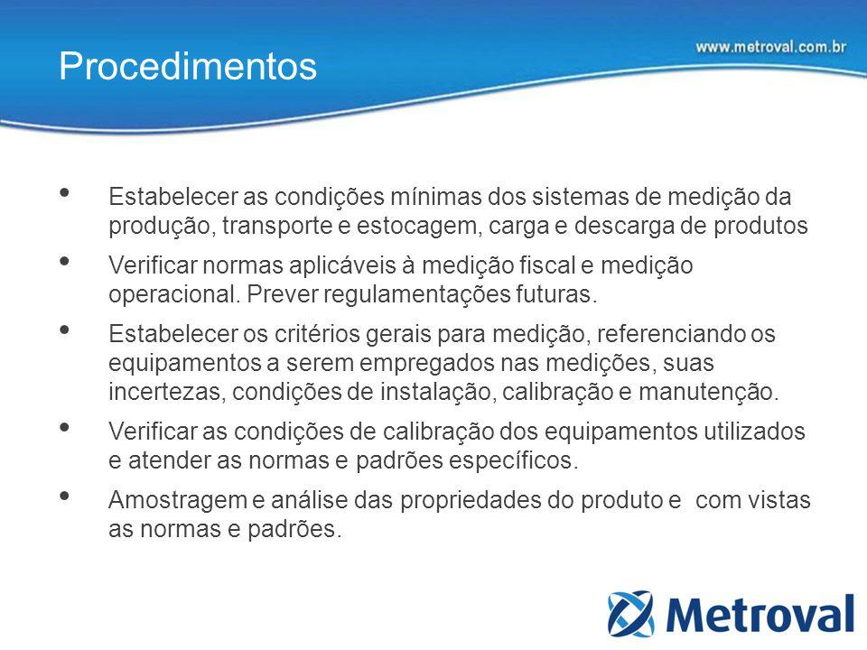 Procedimentos Estabelecer as condições mínimas dos sistemas de medição da produção, transporte e estocagem, carga e descarga de produtos Verificar nor
