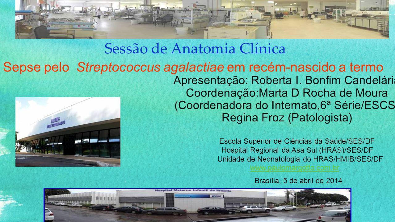 Sessão de Anatomia Clínica Apresentação: Roberta I. Bonfim Candelária Coordenação:Marta D Rocha de Moura (Coordenadora do Internato,6ª Série/ESCS) Reg