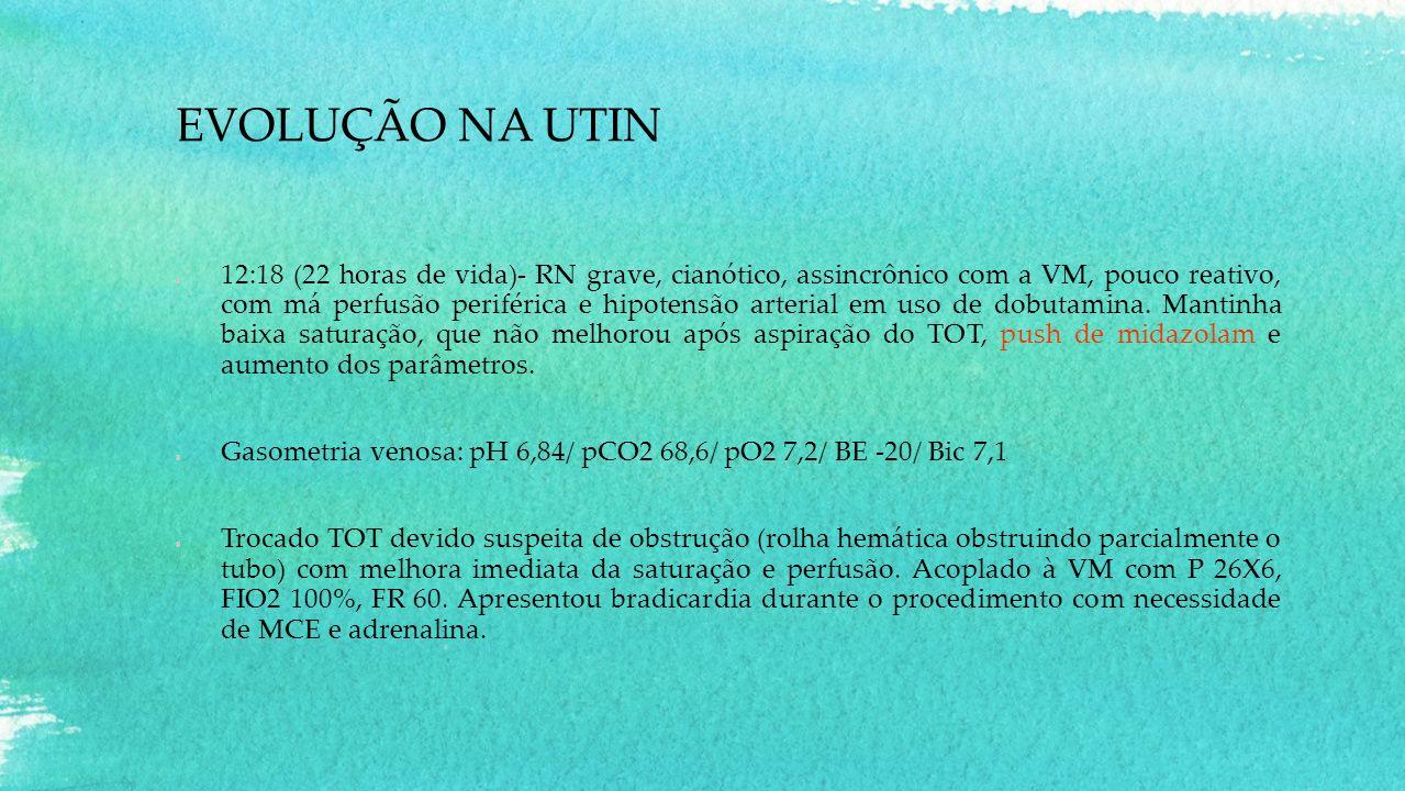 EVOLUÇÃO NA UTIN 12:18 (22 horas de vida)- RN grave, cianótico, assincrônico com a VM, pouco reativo, com má perfusão periférica e hipotensão arterial em uso de dobutamina.