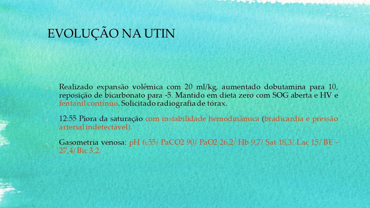 EVOLUÇÃO NA UTIN Realizado expansão volêmica com 20 ml/kg, aumentado dobutamina para 10, reposição de bicarbonato para -5. Mantido em dieta zero com S