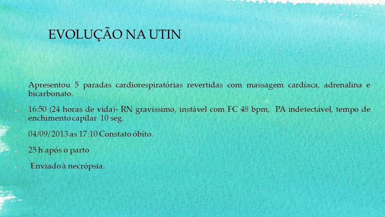 EVOLUÇÃO NA UTIN Apresentou 5 paradas cardiorespiratórias revertidas com massagem cardíaca, adrenalina e bicarbonato. 16:50 (24 horas de vida)- RN gra