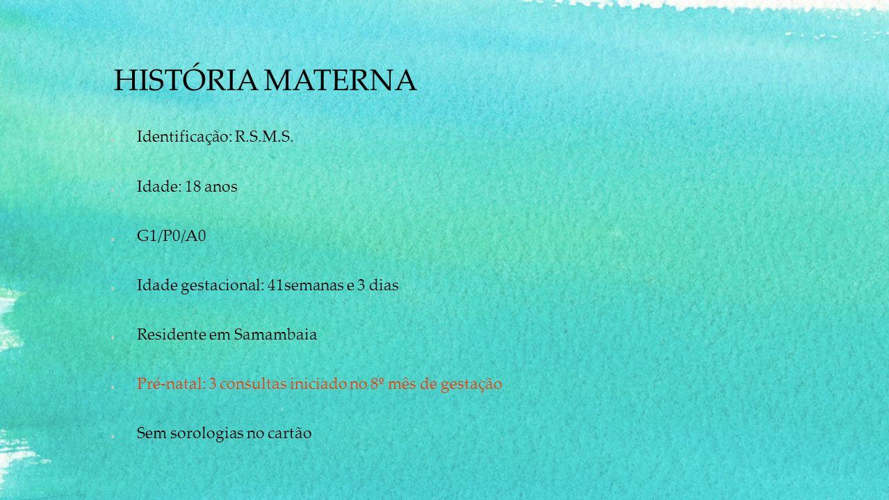 ADMISSÃO NA SALA DE PARTO Parto Espontâneo em 03/09/13 às 14:27 Feto único do sexo masculino com apresentação cefálica sem circular de cordão Bolsa rota há 5 horas com líquido amniótico claro Recém nascido não chorou ao nascer.