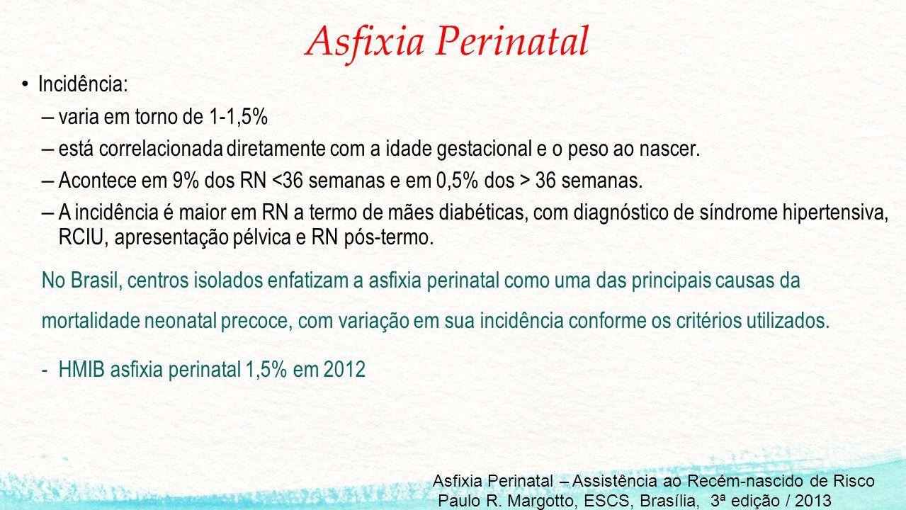 Asfixia Perinatal Incidência: – varia em torno de 1-1,5% – está correlacionada diretamente com a idade gestacional e o peso ao nascer.