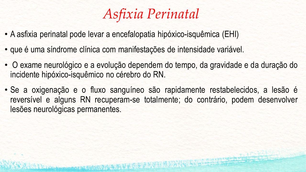 Asfixia Perinatal A asfixia perinatal pode levar a encefalopatia hipóxico-isquêmica (EHI) que é uma síndrome clínica com manifestações de intensidade variável.