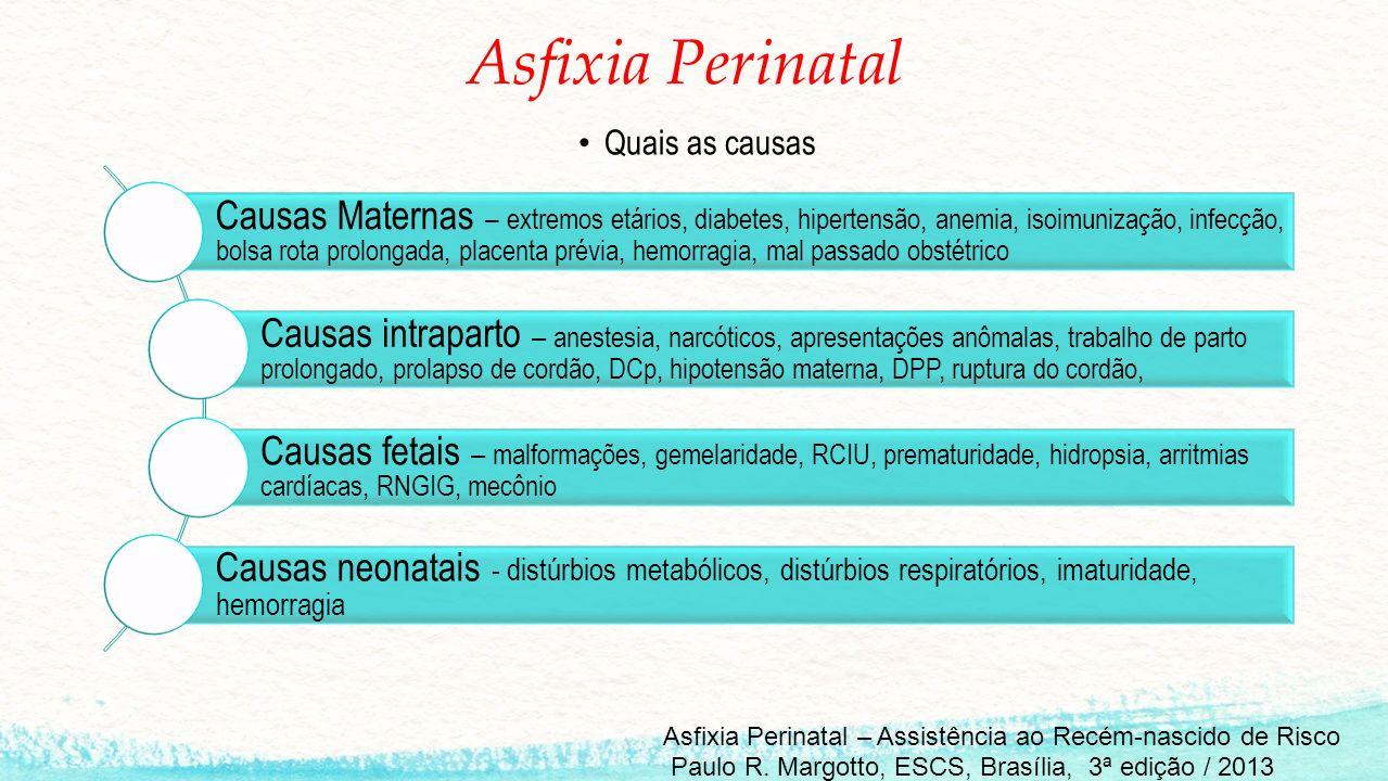 Asfixia Perinatal Quais as causas Causas Maternas – extremos etários, diabetes, hipertensão, anemia, isoimunização, infecção, bolsa rota prolongada, p