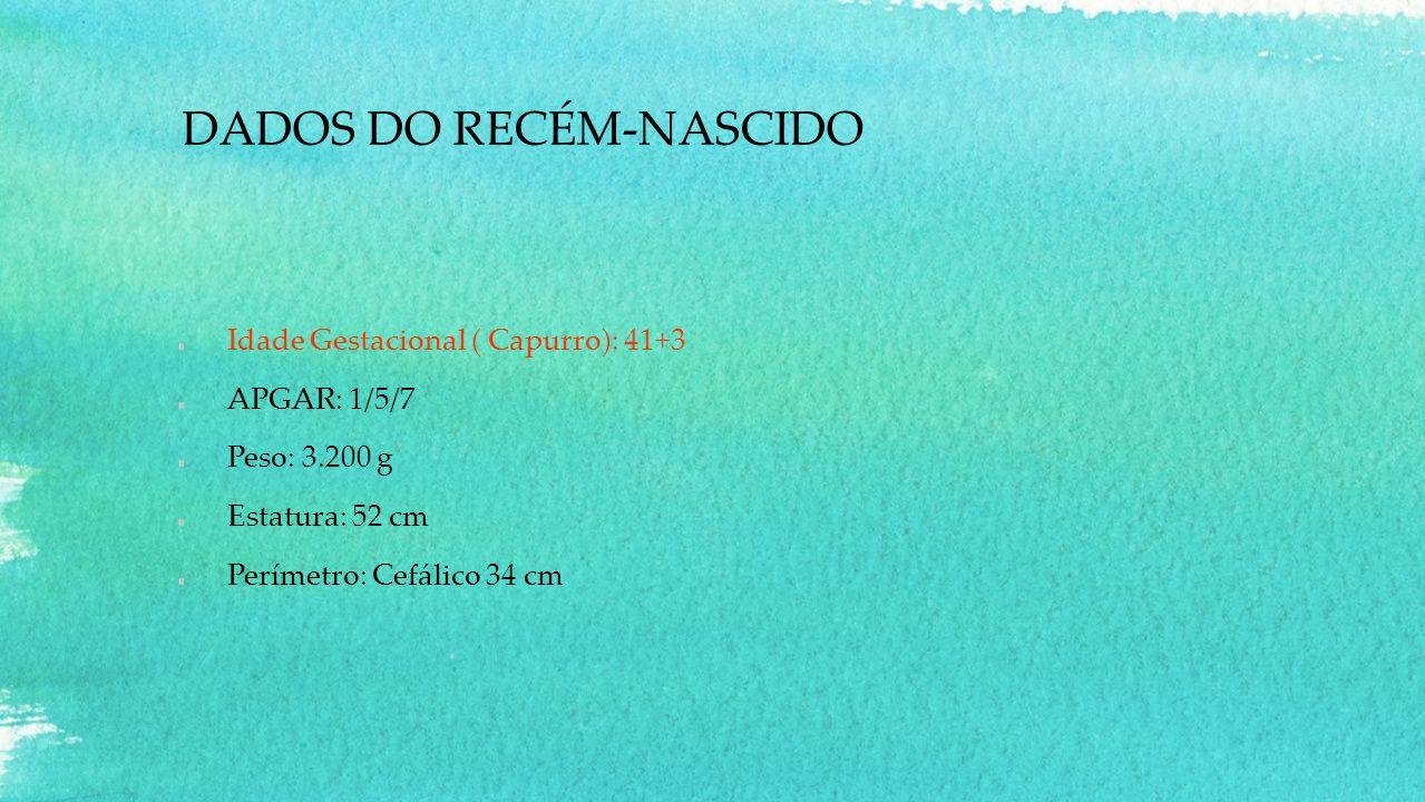 DADOS DO RECÉM-NASCIDO Idade Gestacional ( Capurro): 41+3 APGAR: 1/5/7 Peso: 3.200 g Estatura: 52 cm Perímetro: Cefálico 34 cm