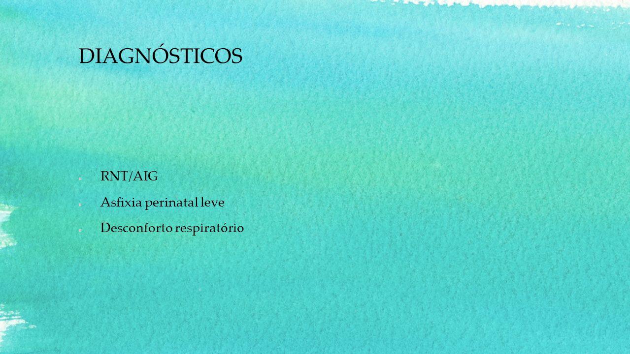 DIAGNÓSTICOS RNT/AIG Asfixia perinatal leve Desconforto respiratório