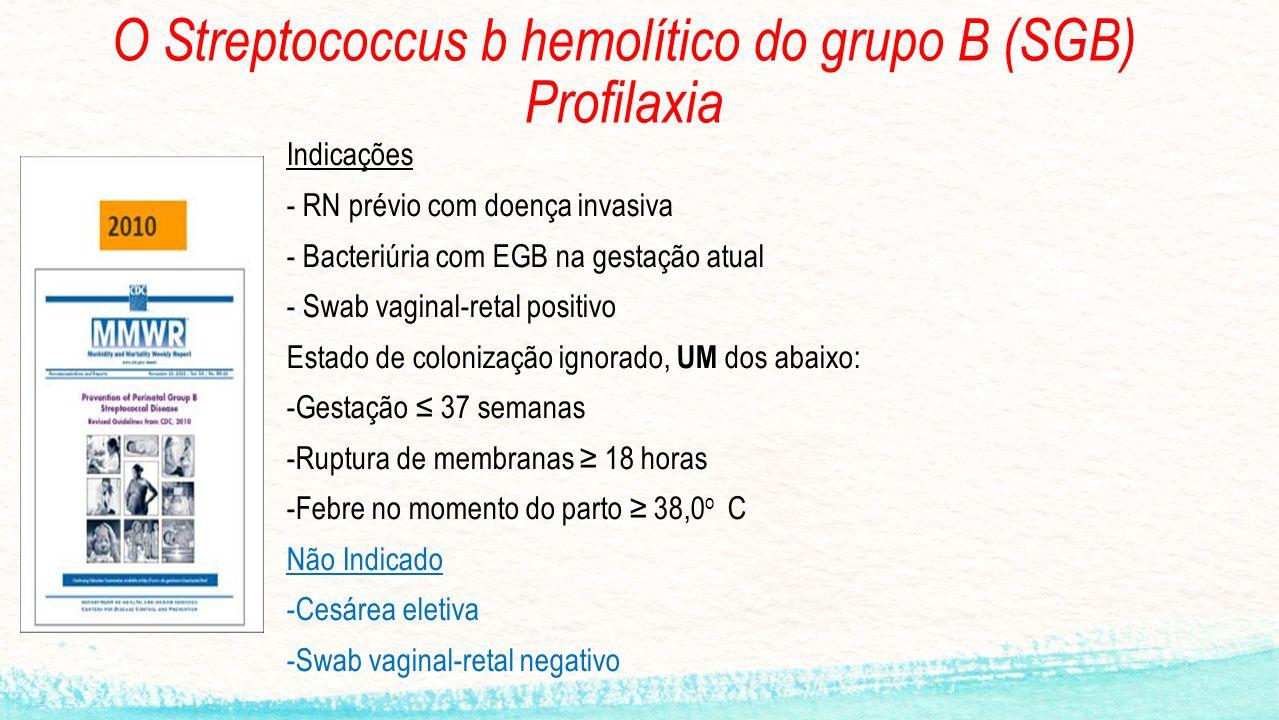 O Streptococcus b hemolítico do grupo B (SGB) Profilaxia Indicações - RN prévio com doença invasiva - Bacteriúria com EGB na gestação atual - Swab vag