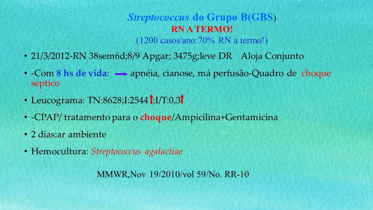 21/3/2012-RN 38sem6d;8/9 Apgar; 3475g;leve DR Aloja Conjunto -Com 8 hs de vida: apnéia, cianose, má perfusão-Quadro de choque séptico Leucograma: TN:8