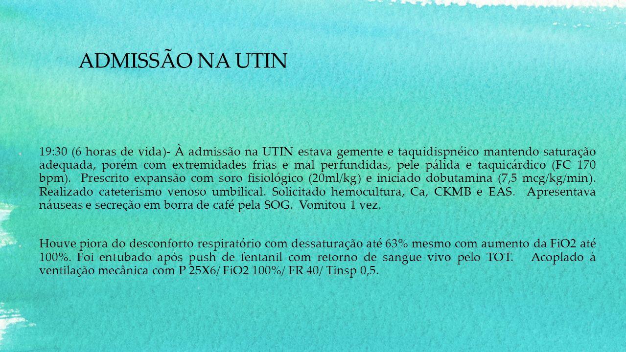 ADMISSÃO NA UTIN 19:30 (6 horas de vida)- À admissão na UTIN estava gemente e taquidispnéico mantendo saturação adequada, porém com extremidades frias e mal perfundidas, pele pálida e taquicárdico (FC 170 bpm).