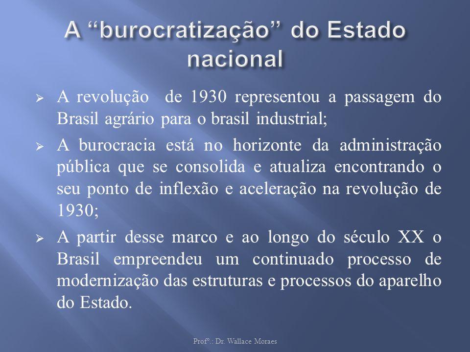 A revolução de 1930 representou a passagem do Brasil agrário para o brasil industrial; A burocracia está no horizonte da administração pública que se