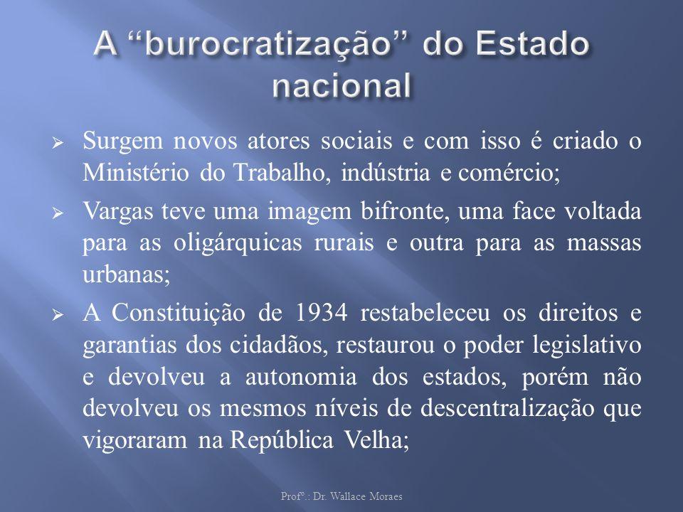 Surgem novos atores sociais e com isso é criado o Ministério do Trabalho, indústria e comércio; Vargas teve uma imagem bifronte, uma face voltada para