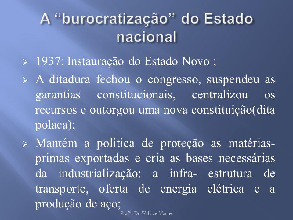 1937: Instauração do Estado Novo ; A ditadura fechou o congresso, suspendeu as garantias constitucionais, centralizou os recursos e outorgou uma nova