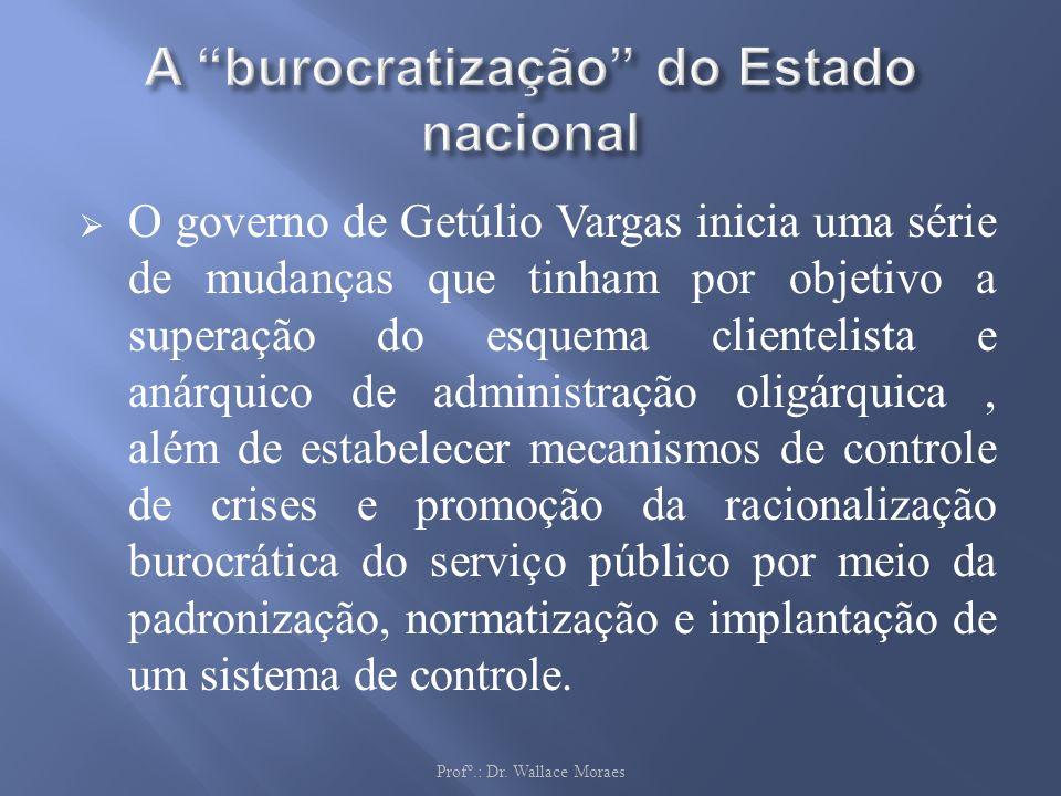 O governo de Getúlio Vargas inicia uma série de mudanças que tinham por objetivo a superação do esquema clientelista e anárquico de administração olig