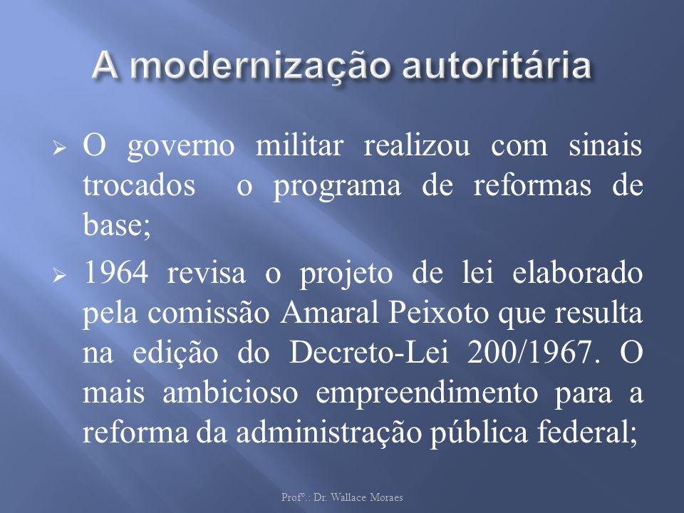 O governo militar realizou com sinais trocados o programa de reformas de base; 1964 revisa o projeto de lei elaborado pela comissão Amaral Peixoto que