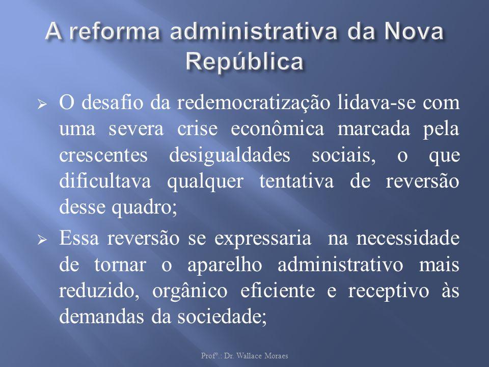 O desafio da redemocratização lidava-se com uma severa crise econômica marcada pela crescentes desigualdades sociais, o que dificultava qualquer tenta