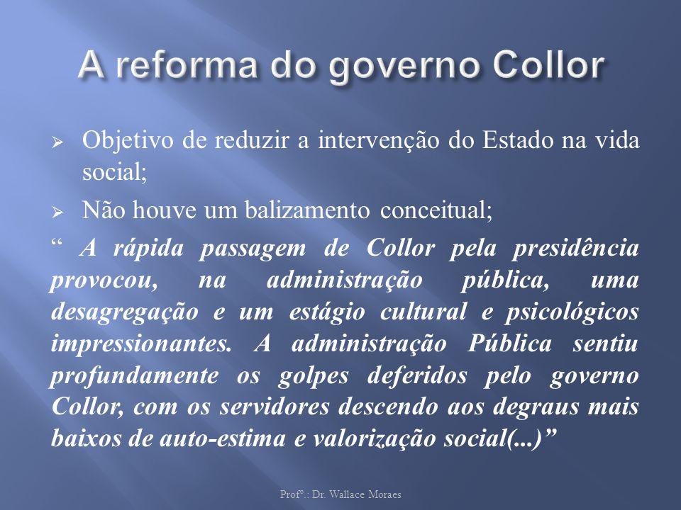 Objetivo de reduzir a intervenção do Estado na vida social; Não houve um balizamento conceitual; A rápida passagem de Collor pela presidência provocou