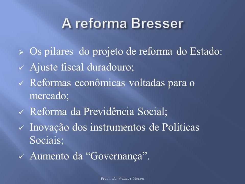 Os pilares do projeto de reforma do Estado: Ajuste fiscal duradouro; Reformas econômicas voltadas para o mercado; Reforma da Previdência Social; Inova