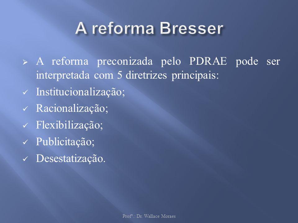A reforma preconizada pelo PDRAE pode ser interpretada com 5 diretrizes principais: Institucionalização; Racionalização; Flexibilização; Publicitação;