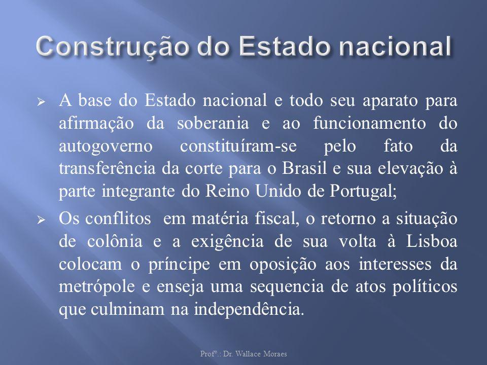 A base do Estado nacional e todo seu aparato para afirmação da soberania e ao funcionamento do autogoverno constituíram-se pelo fato da transferência