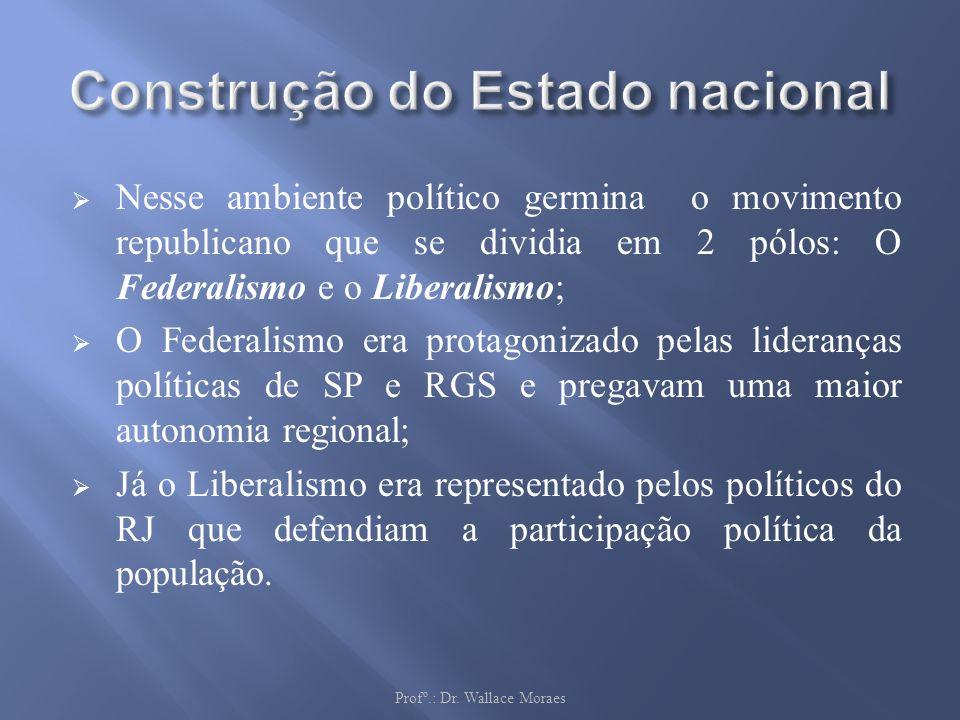 Nesse ambiente político germina o movimento republicano que se dividia em 2 pólos: O Federalismo e o Liberalismo; O Federalismo era protagonizado pela