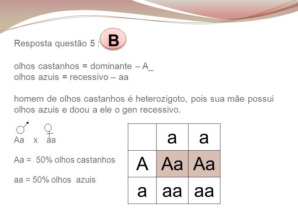Resposta questão 5 : B olhos castanhos = dominante – A_ olhos azuis = recessivo – aa homem de olhos castanhos é heterozigoto, pois sua mãe possui olho