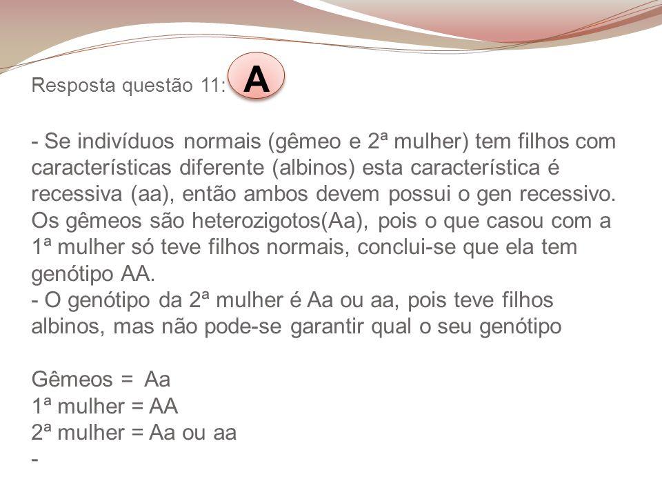 Resposta questão 11: A - Se indivíduos normais (gêmeo e 2ª mulher) tem filhos com características diferente (albinos) esta característica é recessiva