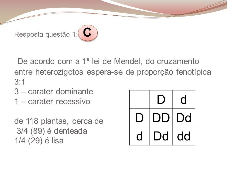 Resposta questão 1 : C De acordo com a 1ª lei de Mendel, do cruzamento entre heterozigotos espera-se de proporção fenotípica 3:1 3 – carater dominante