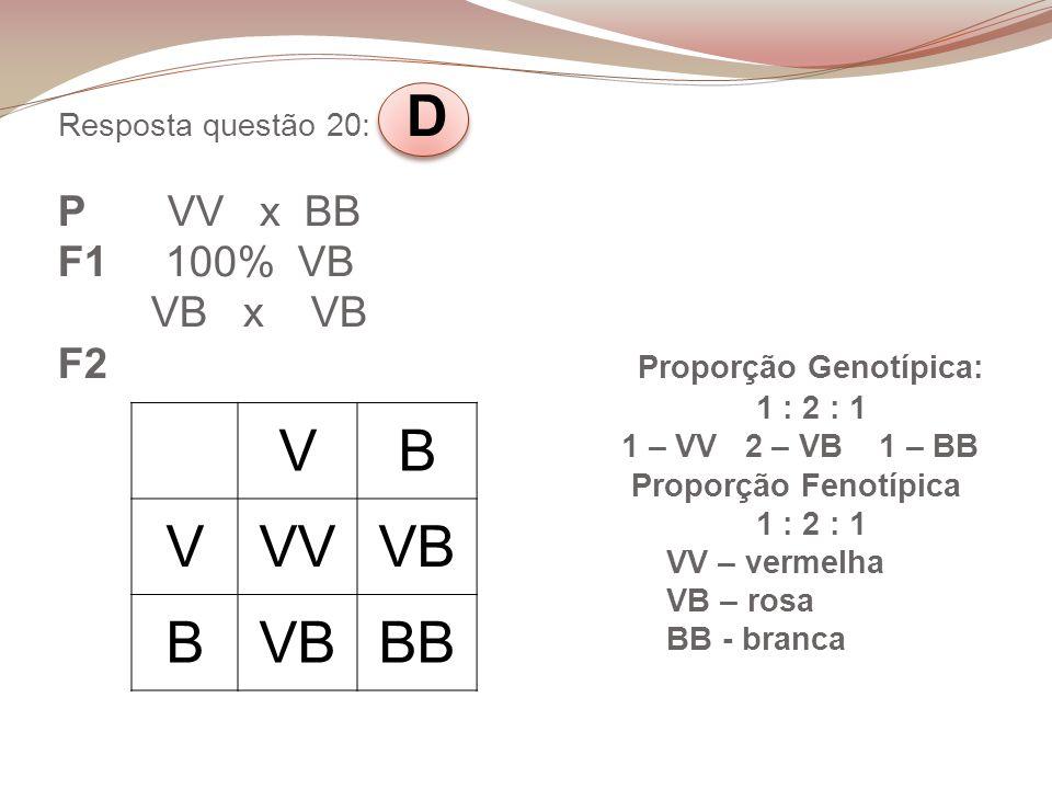 Resposta questão 20: D P VV x BB F1 100% VB VB x VB F2 Proporção Genotípica: 1 : 2 : 1 1 – VV 2 – VB 1 – BB Proporção Fenotípica 1 : 2 : 1 VV – vermel