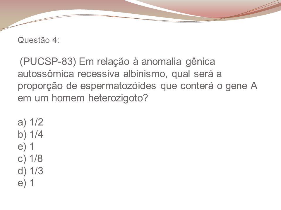Questão 4: (PUCSP-83) Em relação à anomalia gênica autossômica recessiva albinismo, qual será a proporção de espermatozóides que conterá o gene A em u