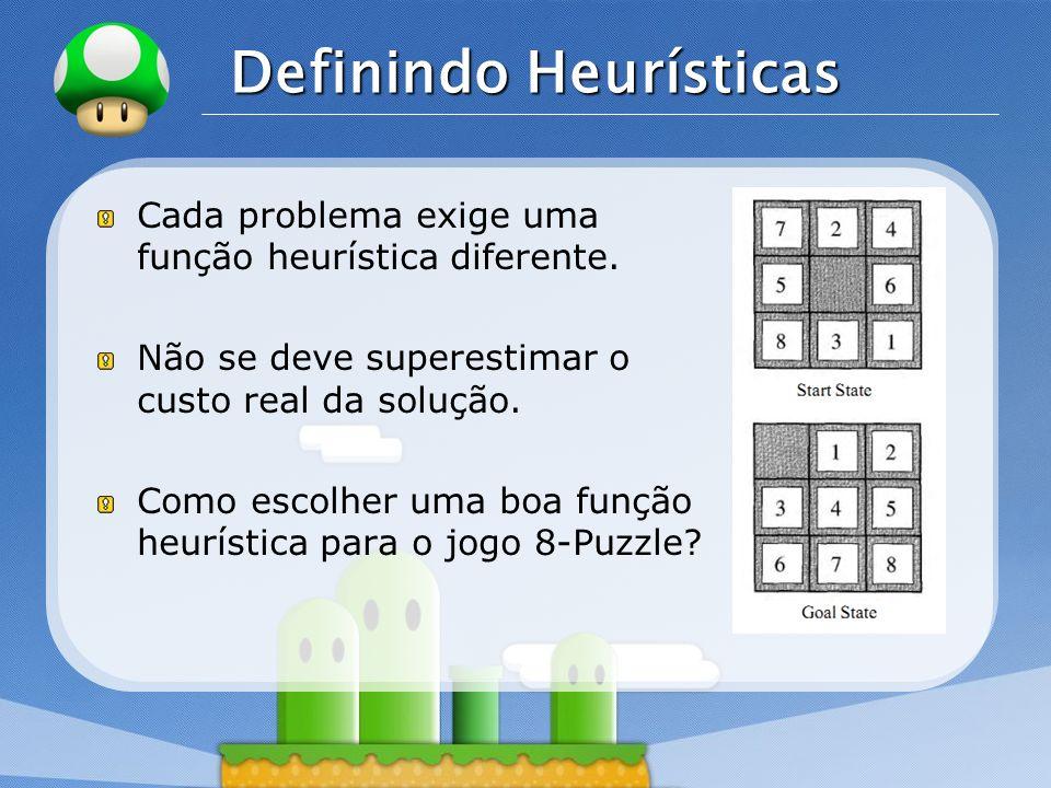 LOGO Definindo Heurísticas Cada problema exige uma função heurística diferente. Não se deve superestimar o custo real da solução. Como escolher uma bo