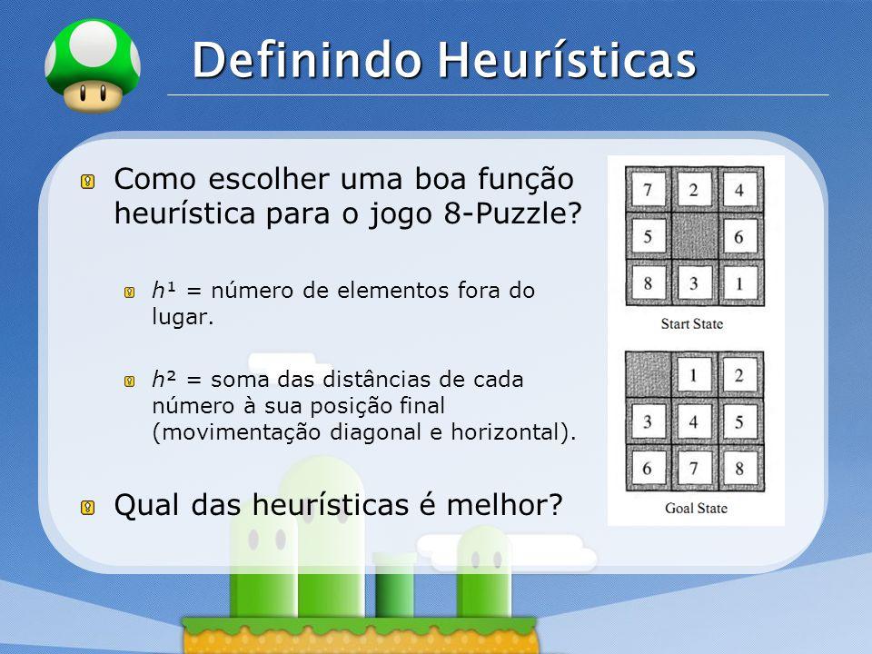 LOGO Definindo Heurísticas Como escolher uma boa função heurística para o jogo 8-Puzzle? h¹ = número de elementos fora do lugar. h² = soma das distânc
