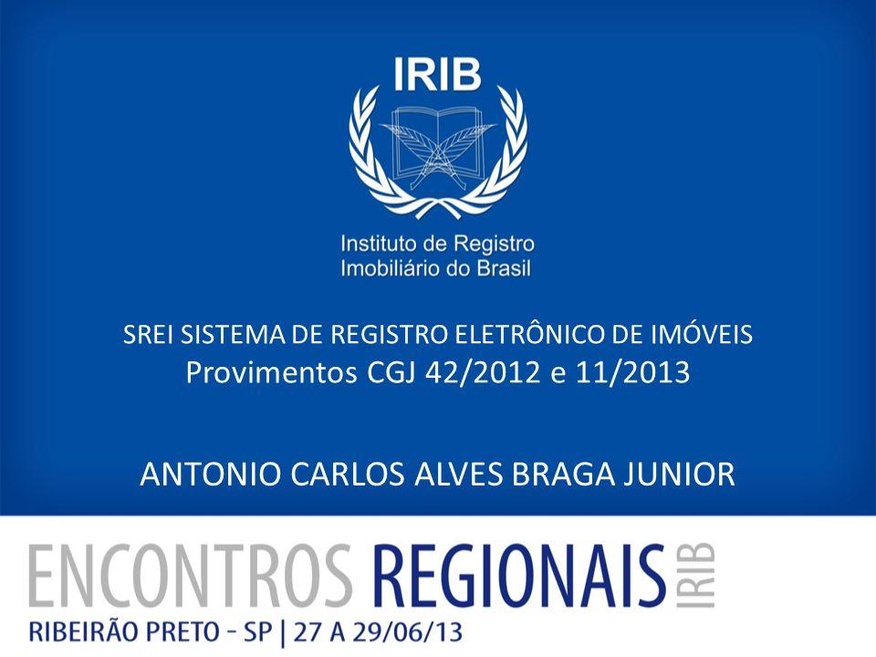 SREI SISTEMA DE REGISTRO ELETRÔNICO DE IMÓVEIS Provimentos CGJ 42/2012 e 11/2013 ANTONIO CARLOS ALVES BRAGA JUNIOR