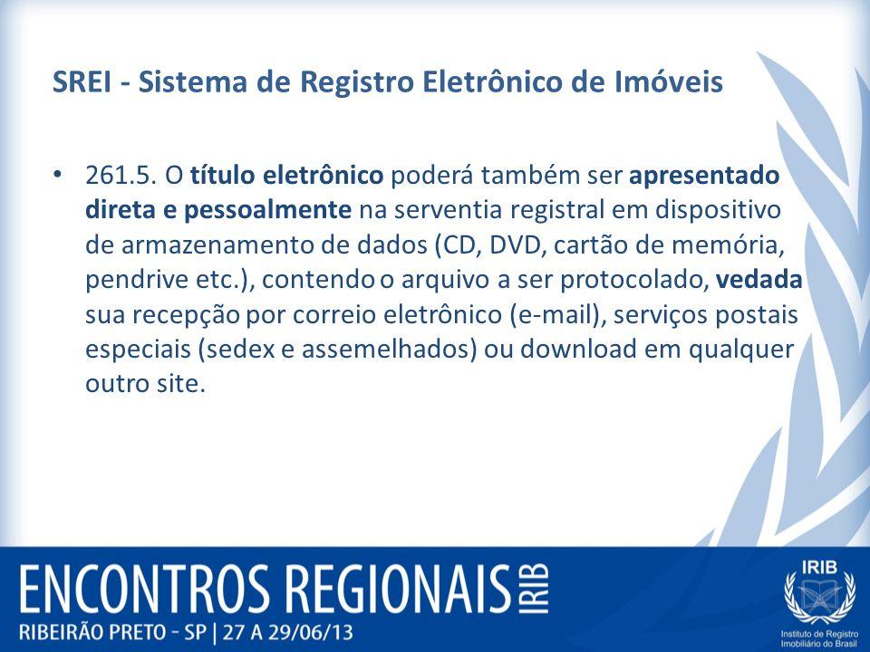 SREI - Sistema de Registro Eletrônico de Imóveis 261.5. O título eletrônico poderá também ser apresentado direta e pessoalmente na serventia registral