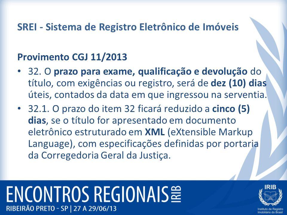 SREI - Sistema de Registro Eletrônico de Imóveis Provimento CGJ 11/2013 32. O prazo para exame, qualificação e devolução do título, com exigências ou