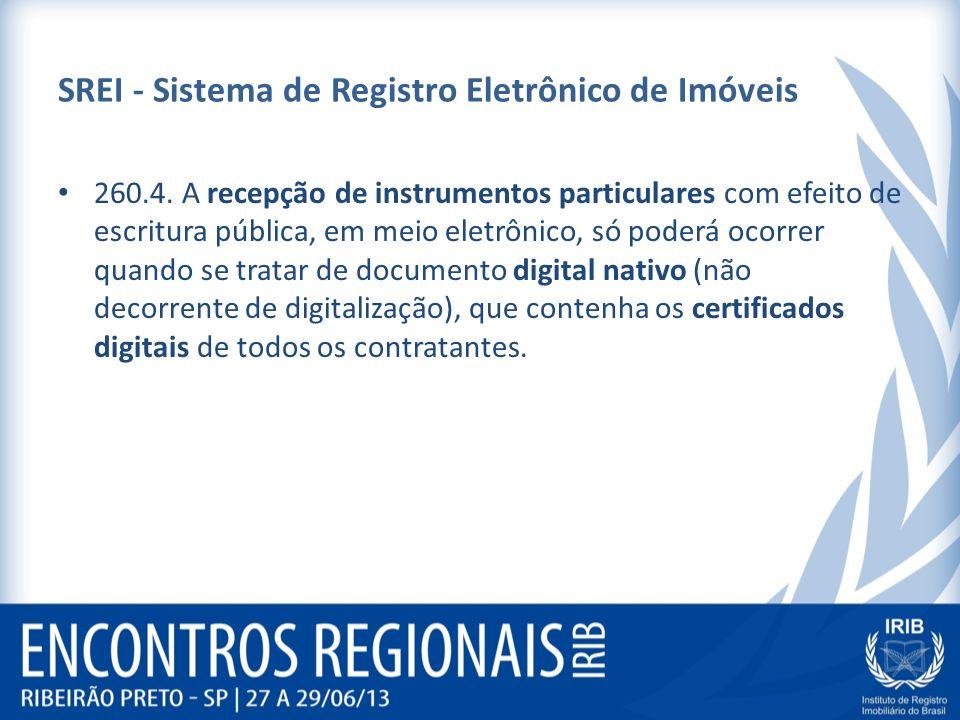 SREI - Sistema de Registro Eletrônico de Imóveis 260.4. A recepção de instrumentos particulares com efeito de escritura pública, em meio eletrônico, s