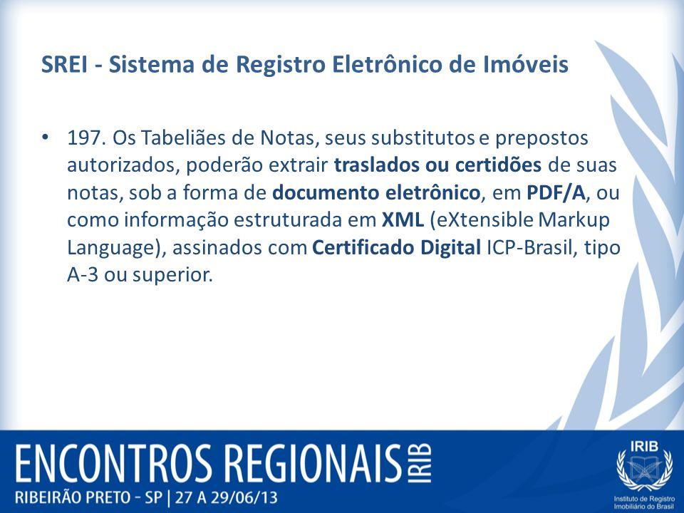 SREI - Sistema de Registro Eletrônico de Imóveis 197. Os Tabeliães de Notas, seus substitutos e prepostos autorizados, poderão extrair traslados ou ce
