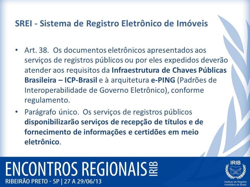SREI - Sistema de Registro Eletrônico de Imóveis Art. 38. Os documentos eletrônicos apresentados aos serviços de registros públicos ou por eles expedi