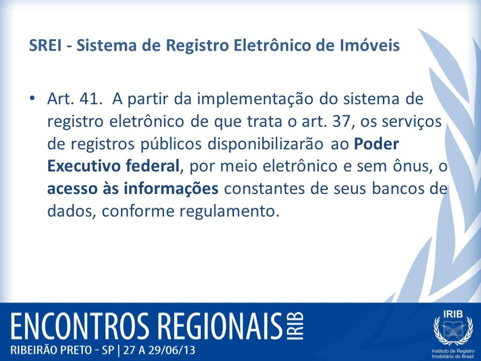SREI - Sistema de Registro Eletrônico de Imóveis Art. 41. A partir da implementação do sistema de registro eletrônico de que trata o art. 37, os servi