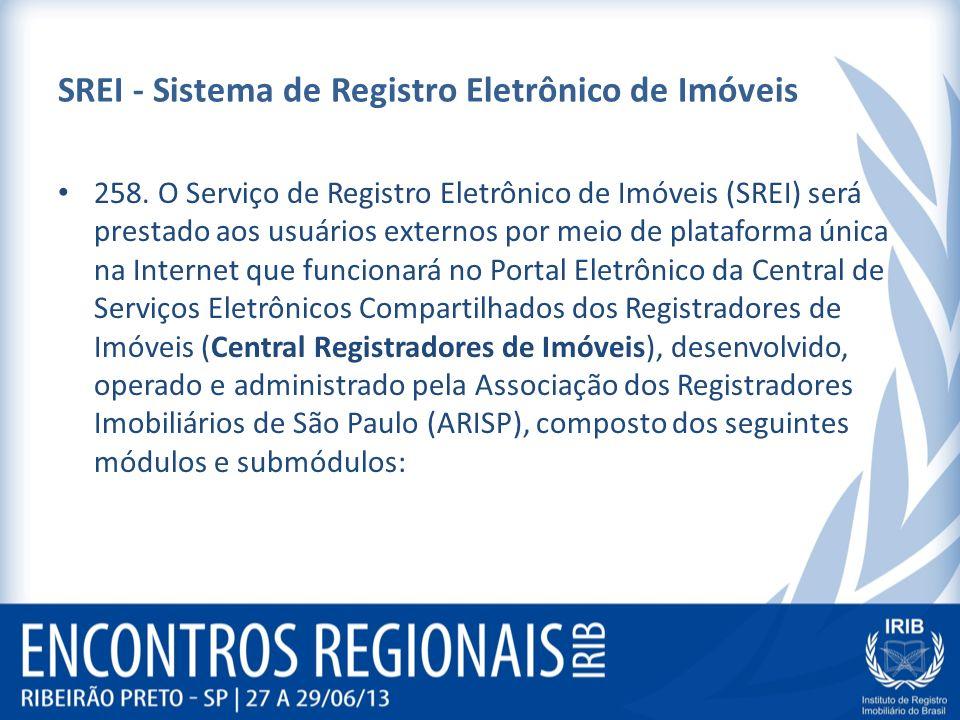 SREI - Sistema de Registro Eletrônico de Imóveis 258. O Serviço de Registro Eletrônico de Imóveis (SREI) será prestado aos usuários externos por meio