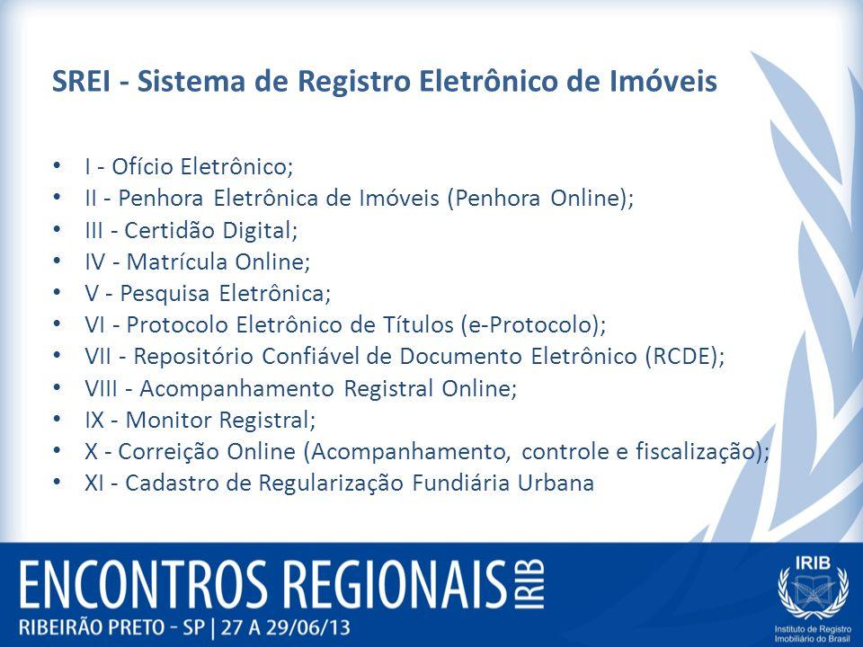 SREI - Sistema de Registro Eletrônico de Imóveis I - Ofício Eletrônico; II - Penhora Eletrônica de Imóveis (Penhora Online); III - Certidão Digital; IV - Matrícula Online; V - Pesquisa Eletrônica; VI - Protocolo Eletrônico de Títulos (e-Protocolo); VII - Repositório Confiável de Documento Eletrônico (RCDE); VIII - Acompanhamento Registral Online; IX - Monitor Registral; X - Correição Online (Acompanhamento, controle e fiscalização); XI - Cadastro de Regularização Fundiária Urbana