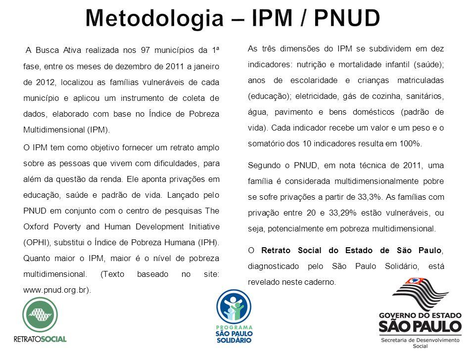 A Busca Ativa realizada nos 97 municípios da 1ª fase, entre os meses de dezembro de 2011 a janeiro de 2012, localizou as famílias vulneráveis de cada